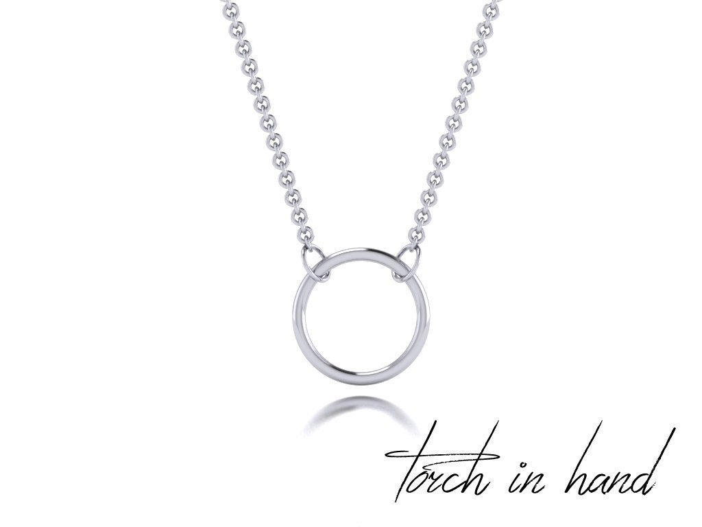 Solid 14k White Gold Hoop Necklace, 14k White Gold Circle Necklace, 14k White Gold Ring Necklace, Gold Halo Necklace, Gold Necklace, 10mm by Torch In Hand