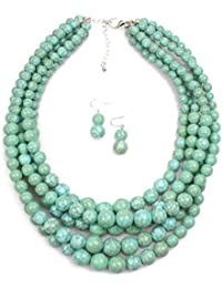 Elegant 5-Layered Strands Crack Turquoise Stone-simulated Pearl Beads Necklace Earrings Set