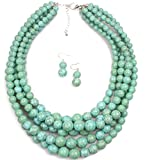 Shineland Elegant 5-Layered Strands Crack Turquoise Stone-simulated Pearl Beads Necklace Earrings Set