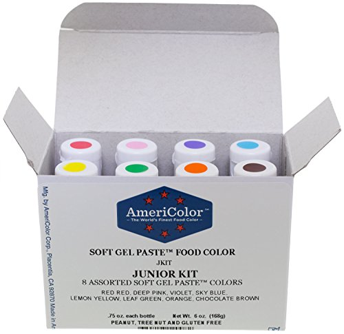 AmeriColor Soft Gel Paste Food Color, Junior Kit-8 assorted colors,0.75 oz bottles