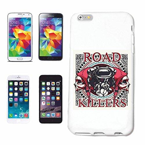 """cas de téléphone iPhone 6+ Plus """"ROAD KILLERS SKULL BIKER SHIRT GOTHIQUE BIKE CLUB MC MOTO CHOPPER CUSTOM MOTO MOTO CLUB REUNION REUNION"""" Hard Case Cover Téléphone Covers Smart Cover pour Apple iPhone"""