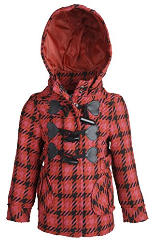 (dollhouse Baby Girls Dressy Waisted Wool Hooded Winter Toggle Peacoat Jacket - Alley Plaid (18 Months))