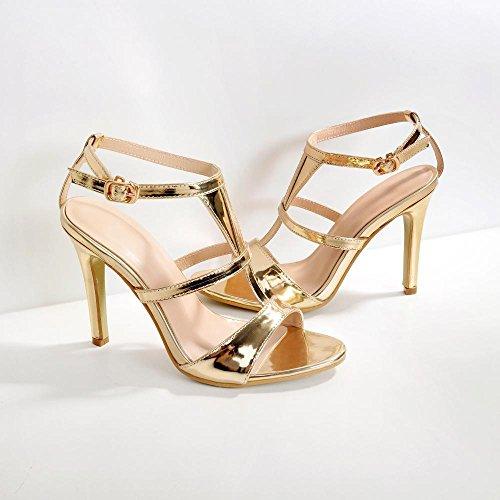 Golden zapatos con ranurada tacón boca fina mujer Correa nueva ZHZNVX pescado zapatos de corbata de sexy T La sandalias tpqUzxwHf