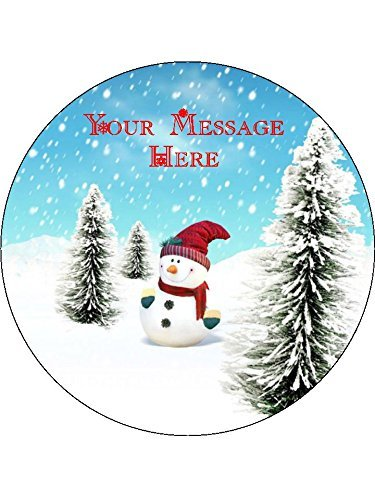 """Personalised Fun Christmas Snowman 19cm / 7.5"""" Edible Icing Cake Topper - Please leave personalisation as a Gift Message (5 - 10 BUSINESS DAYS DELIVERY FROM UK)"""