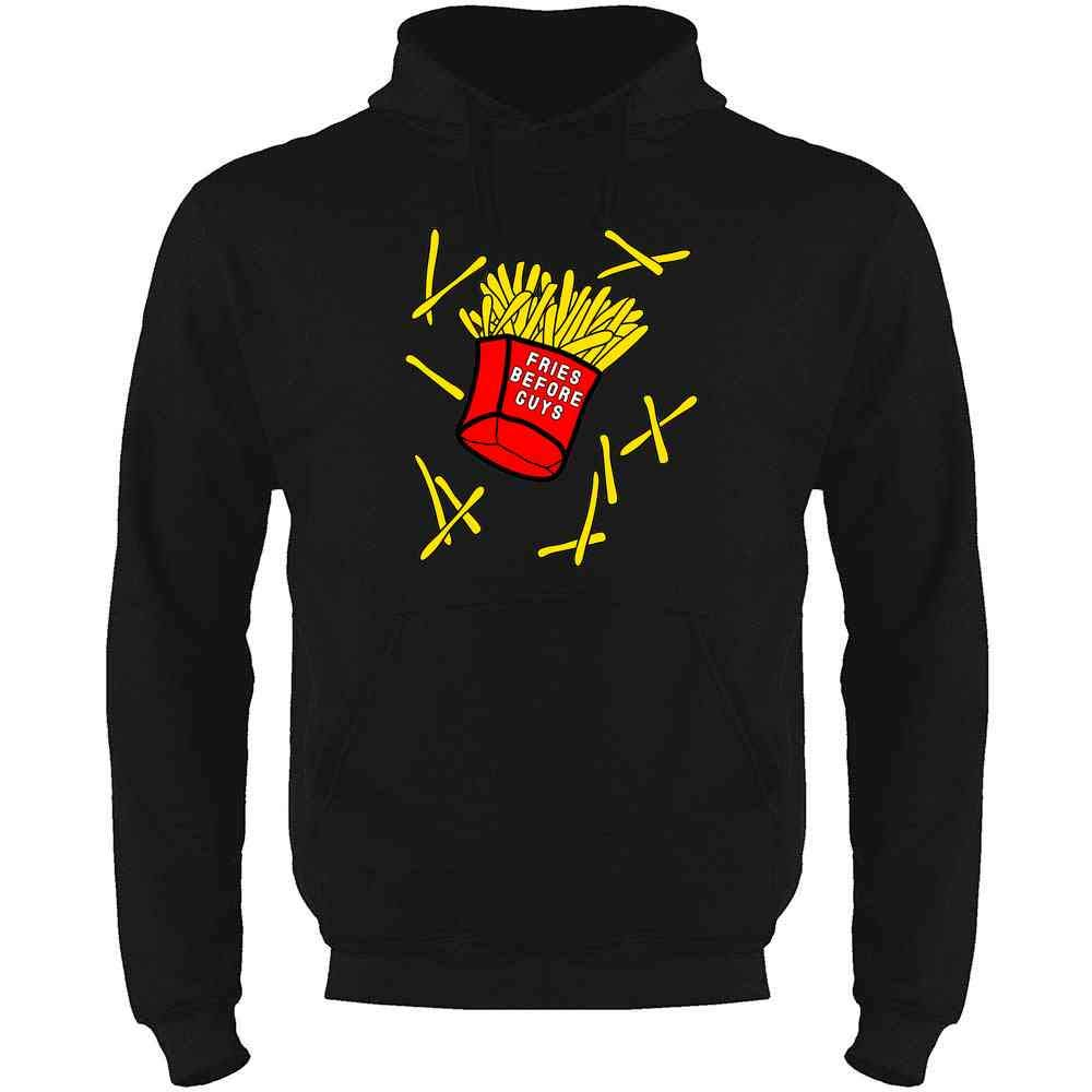 Pop Threads Fries Before Guys Mens Fleece Hoodie Sweatshirt