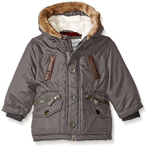 Carter's Baby Boys' Infant Heavyweight Fashion Parka, Grey, 12M - Fleece Heavyweight Parka