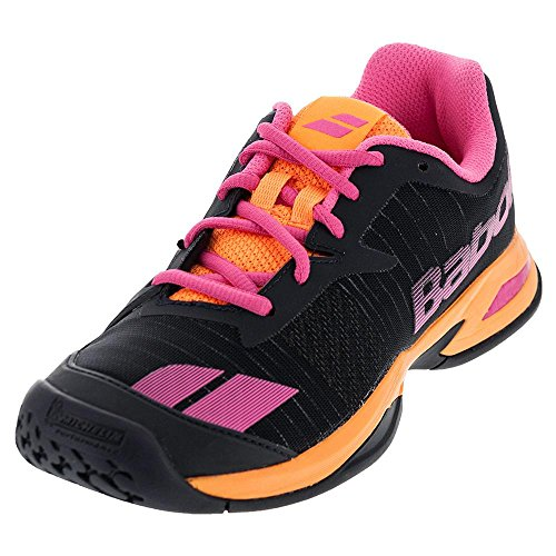 Babolat Junior Jet All Court Girl's Tennis Shoe, Grey/Orange/Pink