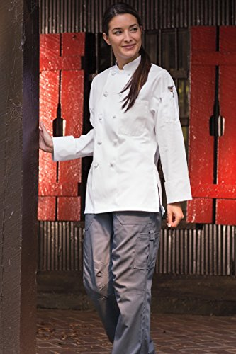 Uncommon Threads Women's Sedona Fit Chef Coat, White, Medium