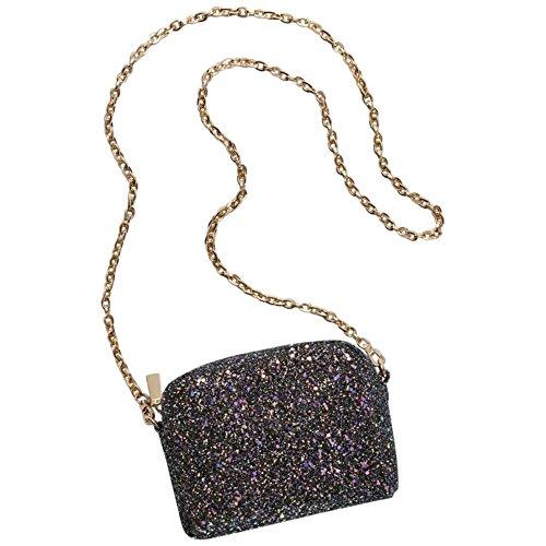 Iridescent Glitter Chain Strap Mini-Bag Style BGS49040, Black Iridescent Glitter Top