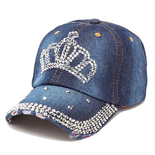 - Oberora Baseball Caps for Women, Novelty Rhinestone Crown Style Classic Baseball Hats (Port Gore)