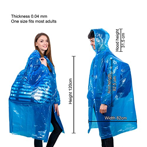 Extra Thick Disposable Emergency Rain Ponchos ~ Premium Quality, Lightweight, Waterproof & Tear Resistant ~ For Hiking, Tours, Sightseeing, Theme Parks, Festivals & More by KeepDry! by KeepDry! (Image #3)