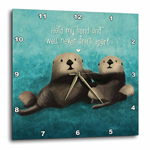 3dRose Noonday Design - Animals - Two sea otters holding hands in the ocean - 13x13 Wall Clock (dpp_281739_2)
