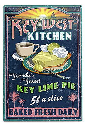New Great Key West Florida Key Lime Pie Vintage Sign Aluminum Wall Sign Wall Decor Ready to Hang for Outdoor & Indoor 12 x 18 in