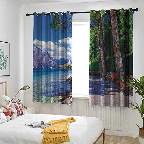 Beihai1Sun Landscape Custom Curtain Scenic Lago di Garda Malcesine Italy Stone Bicycle Road with Flowers Lake Blackout Draperies for Bedroom W 72