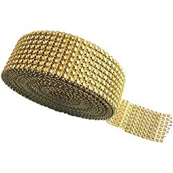 Y&Y Star 10 Yards 30ft 8 Row Gold Diamond Rhinestone Mesh Ribbon Bling Bling Wrap Bulk(8Row Gold)