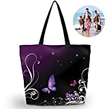 Newplenty Ladies Zippered Light Shoulder Shopping Tote Bag Handbag Beach Satchel (Purple Butterfly)