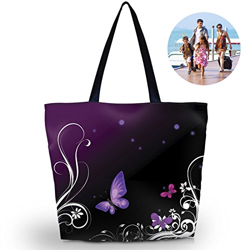 Beach Tote Bags Travel Totes Bag Shopping Zippered Tote for Women Foldable Waterproof Overnight Handbag ()