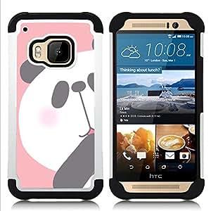 "HTC One M9 /M9s / One Hima - 3 en 1 impreso colorido de Altas Prestaciones PC Funda chaqueta Negro cubierta gel silicona suave (Panda Kids Dibujo Oso Blanco Rosa"")"