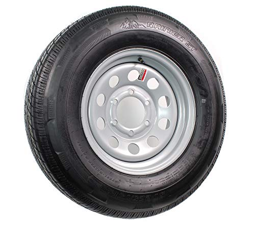 15 Inch Silver Modular Trailer Wheel with Radial TrailFinder ST22575R15E Tire Mounted 6 Lug 5.5 Inch Bolt Circle