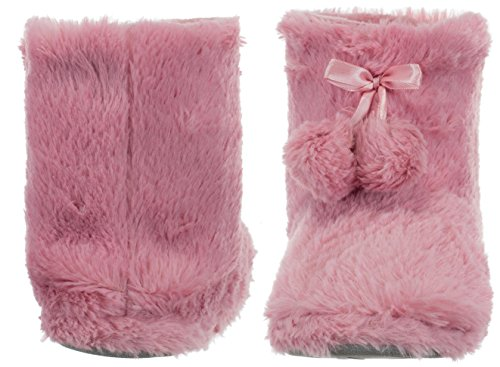 Ladies 'Boots Fleece Lined with Bobble and Non Slip Sole Slipper Pink - antique pink xdywNG8ef