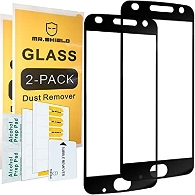 [2-PACK]-Mr Shield For Motorola MOTO Z2 Play [Tempered Glass] [Full Screen Glue Cover] Screen Protector with Lifetime Replacement Warranty by Mr Shield