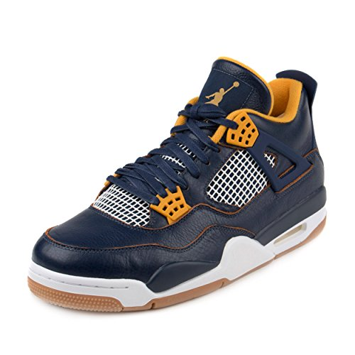 Jordan Men's Air 4 Retro, DUNK FROM ABOVE-MID NAVY/METALLIC GOLD-GOLD LF-WHITE, 10.5 M US by Jordan