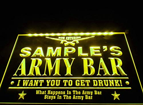 - Name Personalized Custom Army Man Cave Bar Beer Neon Sign - Yellow Colour