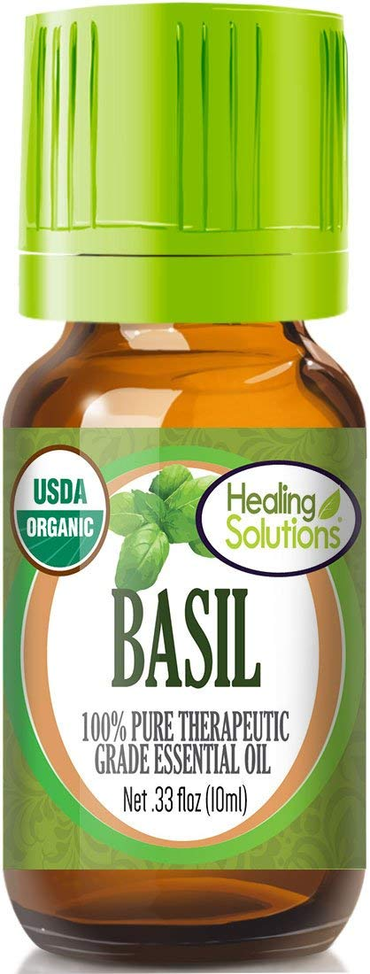 Organic Basil Essential Oil (100% Pure - USDA Certified Organic) Best Therapeutic Grade Essential Oil - 10ml