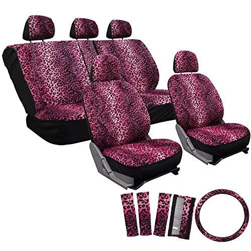 Motorup America Leopard Auto Seat Cover - Pink Animal Print Full Set - Fits Select Vehicles Car Truck Van SUV ()