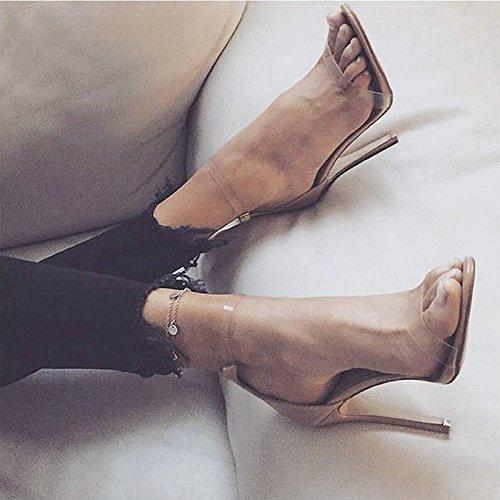 Sandali Tacco Alto Vivioo Sandali Con Tacco Alto Scarpe Tacco Alto Estate Trasparente Tacco Nudo Colore 7,5cm