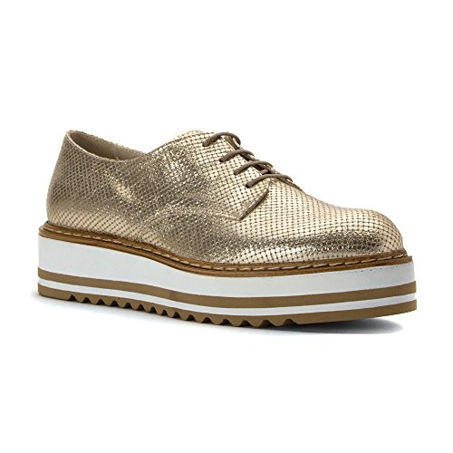 Vetta Da Donna Da Montagna Bianca Cinta Sneaker In Metallo Oro Belinda 39 M