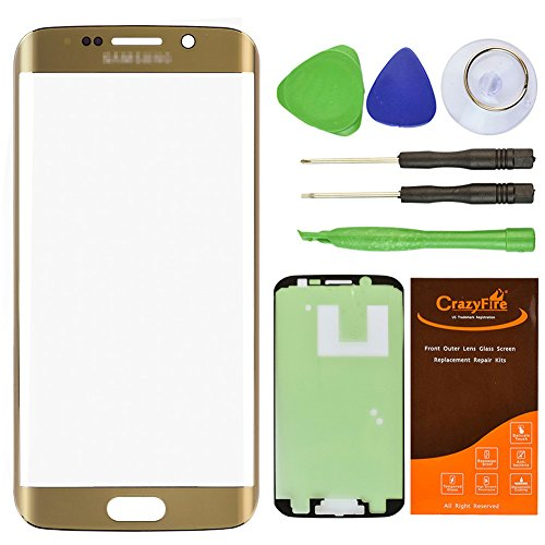 Cheap Replacement Parts CrazyFire Gold Front Outer Lens Glass Screen Replacement For Samsung Galaxy S6..