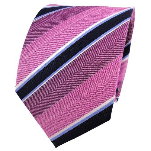TigerTie cravate en soie violet lila bleu blanc rayé - cravate en soie