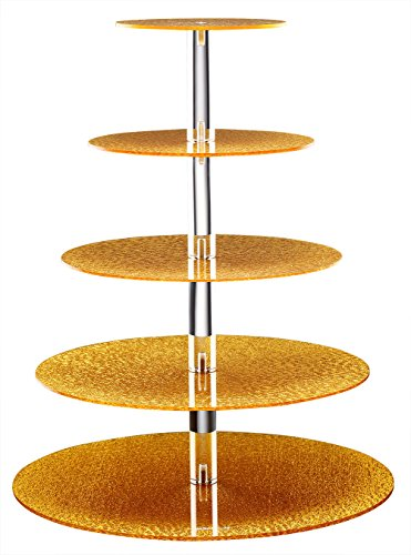 Eglaf Acrylic 5-Tier Gold Cupcake Stand Cakes and Desserts Display Tower/Food Display Platter for Wedding Party (5-Tier-Round-Gold)