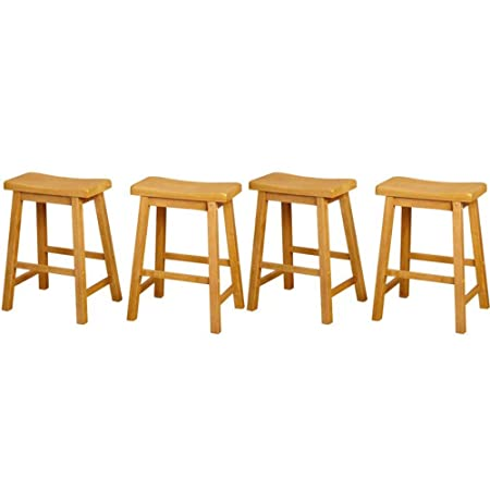 Target Marketing Systems Set of 4 24-Inch Belfast Wooden Saddle Stools, Set of 4, Rustic Oak Free Laundry Bags