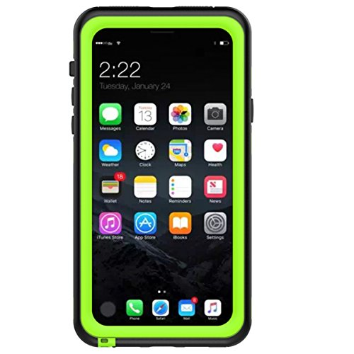 (iPhone X Waterproof Case, Forhouse IP68 Certified Full Body Protection Crystal Clear Built-in Screen Protector Shockproof Protective Case for iPhone X (Green))