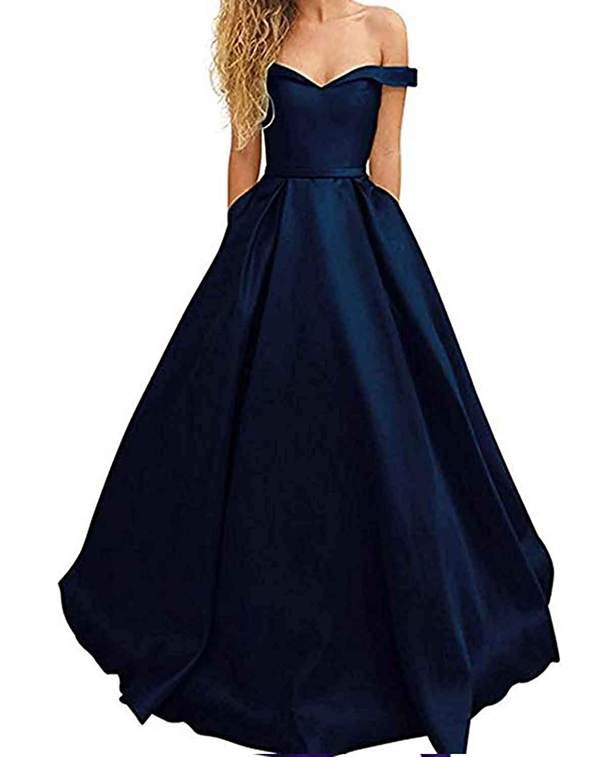 Navy bluee WHLWHL OffTheShoulder Long Prom Dress Party Gowns for Women 2019 Evening with Pockets