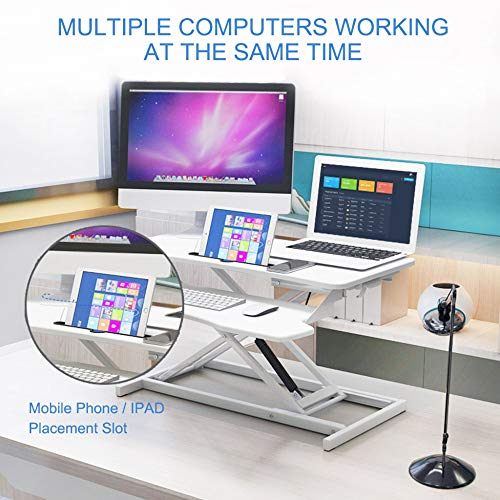 LIULIFE Laptop Stand for Desk Sit Stand Height Adjustable Desk Computer Workstation Standing Desk Converter with Keyboard Tray,White-WithKeyboardBoard by LIULIFE (Image #2)