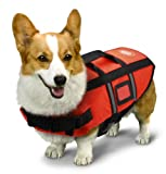 First Aid - USA AKC Pet Life Jacket with Reflective Stripes, Lift Handle & Storage Bag, Extra Small, Orange