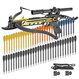 KingsArchery Crossbow Self-Cocking 80 LBS with Hunting Scope, Spare Crossbow String and Caps, 3 Aluminium Arrow Bolts, and Bonus 60-Pack of Colored PVC Arrow Bolts