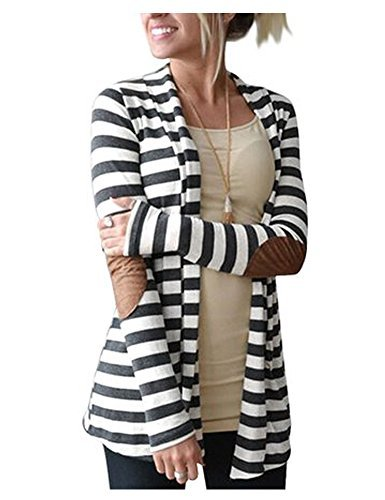 AuntTaylor Womens Shawl Collar Thick Striped Open Front Cardigan Blouse Brown 3XL