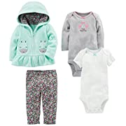 Simple Joys by Carter's Baby Girls 4-Piece Little Jacket Set, Mint Floral, 0-3 Months