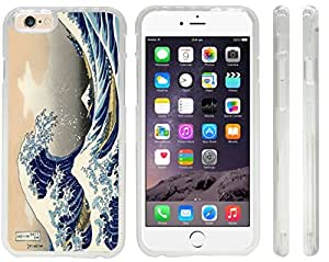 Rikki KnightTM Katsushika Hokusai Art A Big wave of Kanagawa Design iPhone 6 Case Cover (Clear Rubber with front bumper protection) for Apple iPhone 6