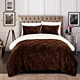 Chic Home CS5116-AN Josepha 3Piece Josepha Pinch Pleated Ruffled & Pin Tuck Sherpa Lined King Bed In A Bag Comforter Set Brown,King