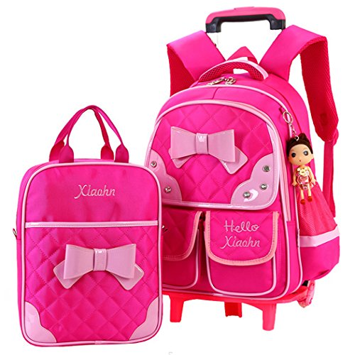 COOFIT 2Pcs School Backpack School Bag Bookbag Cute Knapsack Waterproof Dustproof Bag Rolling Backpack with Lunch Bag