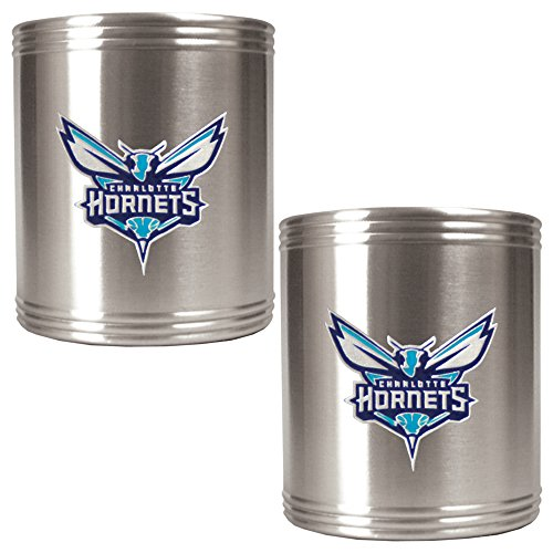Nfl Glass Candy Jar - NBA Charlotte Hornets Two Piece Stainless Steel Can Holder Set - Primary Logo
