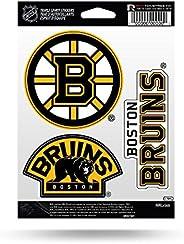 Rico MSS7301 NHL Boston Bruins Triple Spirit Stickers, Black, Yellow White, 3 Team Stickers, Black, Yellowwhit