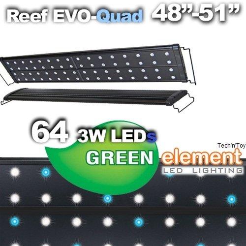 T5 Quad 72 Lighting Aquarium Light Saltwater Reef 320w: Green Element Evo Quad 48-52 Led Aquarium Light Fixture