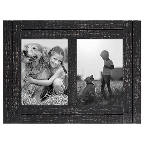 5x7 Charcoal Black Collage Distressed Wood Frame - Made to Display Two 5x7 Photos - Ready To Hang or Stand With Built in Easel - Black Wood Distressed Picture Frames