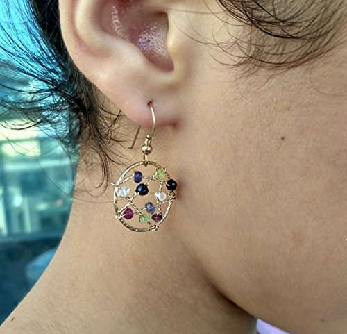 Multi color Tourmaline Wire Wrapped Gold Filled Earrings